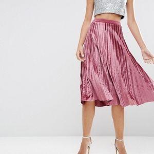 Asos Velvet Pleated Midi Skirt